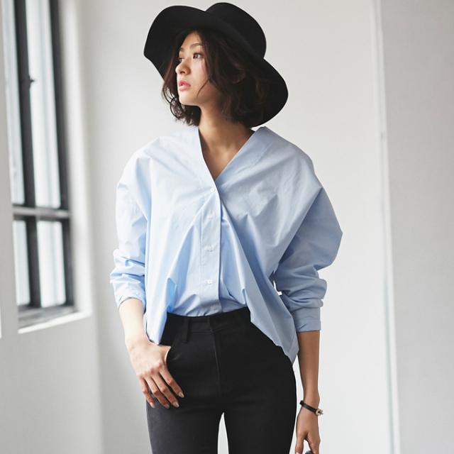 【V neck shirt】レディース 抜き衿 シャツ