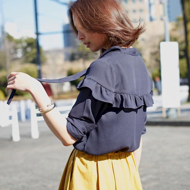 【Tie frill blouse】レディース  タイ衿 フリル