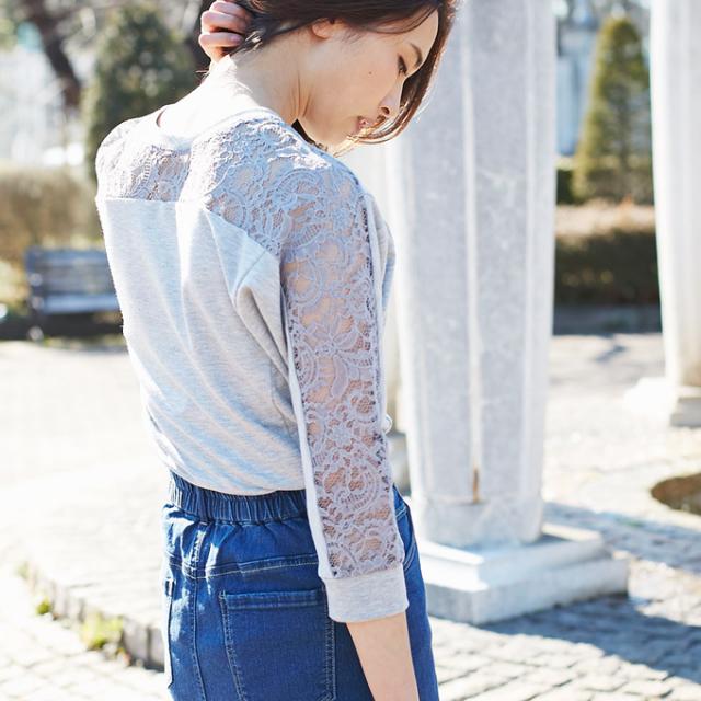 【Shoulder lace cut sewn】レディース  透かしレース カットソー