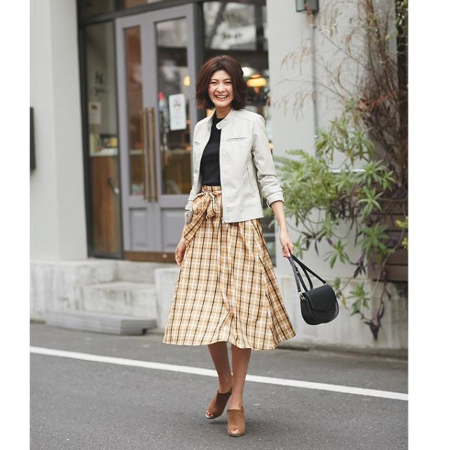 【Ribbon check flare skirt】レディース リボン チェック スカート