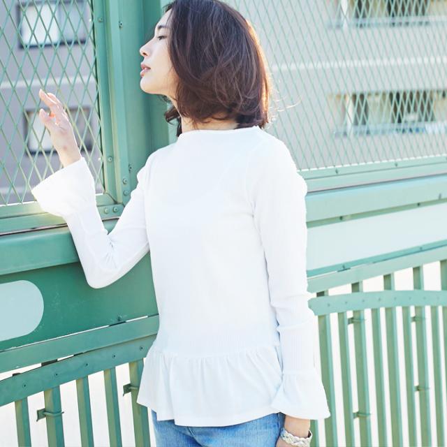【Hem frill rib knit tops】レディース  フリル リブ ニットソー
