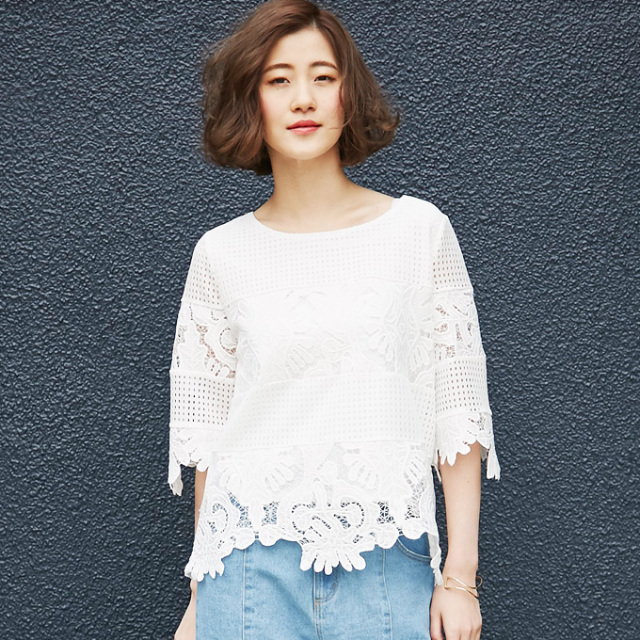 【Flower lace tops】レディース  レース トップス