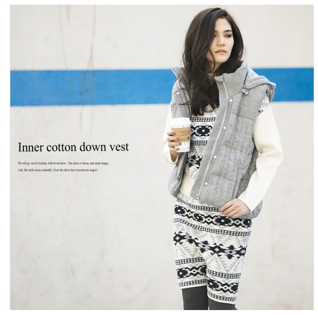 【Inner cotton down vest】レディース ダウン ベスト *SALE品につき返品/交換/注文確定後の変更キャンセル不可*