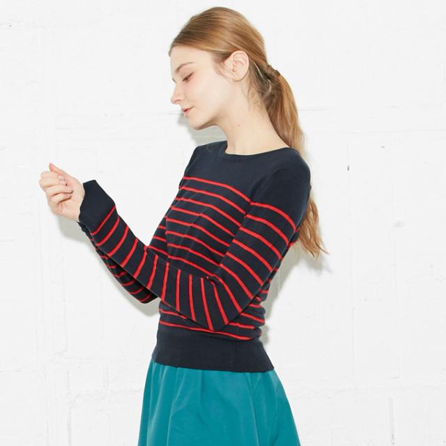 【Border knit pullover】レディース ボーダー ニット