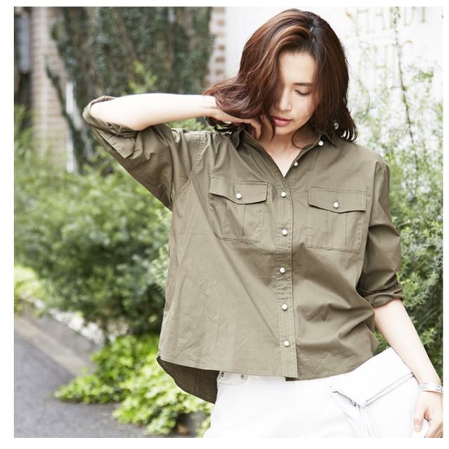 4月27日午前0:00再販!【Pearl button shirt】レディース パール ミリタリー