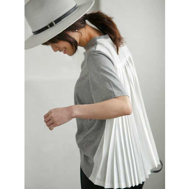 8月5日午前0:00新色&再販!斎藤寛子コラボ【Back pleats T shirt】レディース プリーツ Tシャツ