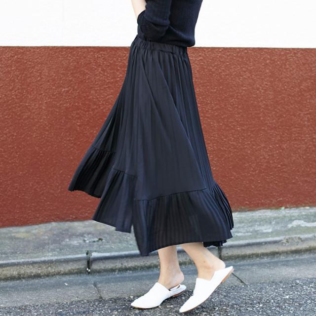 【Asymmetry pleats skirt】レディース  スカート