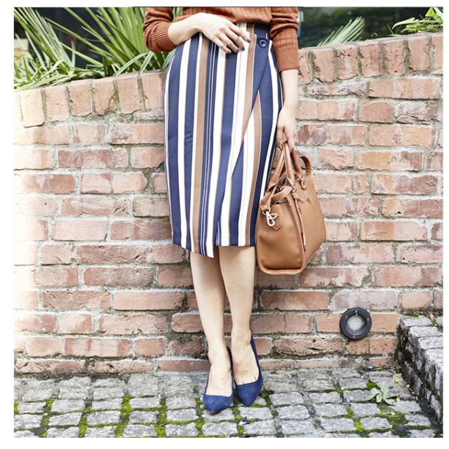 【Multi stripe rap skirt】レディース  ストライプ スカート