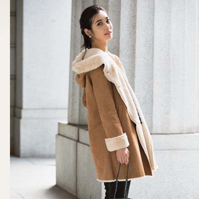 《Steady. 2月号掲載》【Hood mouton coat】レディース  ムートン コート*SALE品につき返品/交換/注文確定後の変更キャンセル不可*