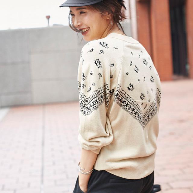 1月24日午前0:00再販【Nordic print knit】レディース  ノルディック柄 ニット