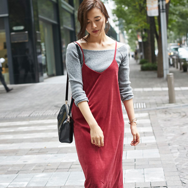 【Velour camisole one piece】レディース  ベロア ワンピース