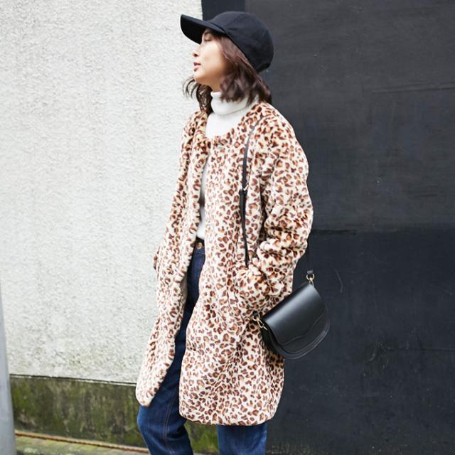 【Fake fur leopard coat】レディース レオパード柄 コート