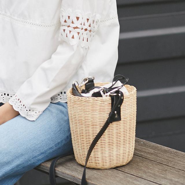 【2way bucket basket bag】レディース  2WAY かごバッグ
