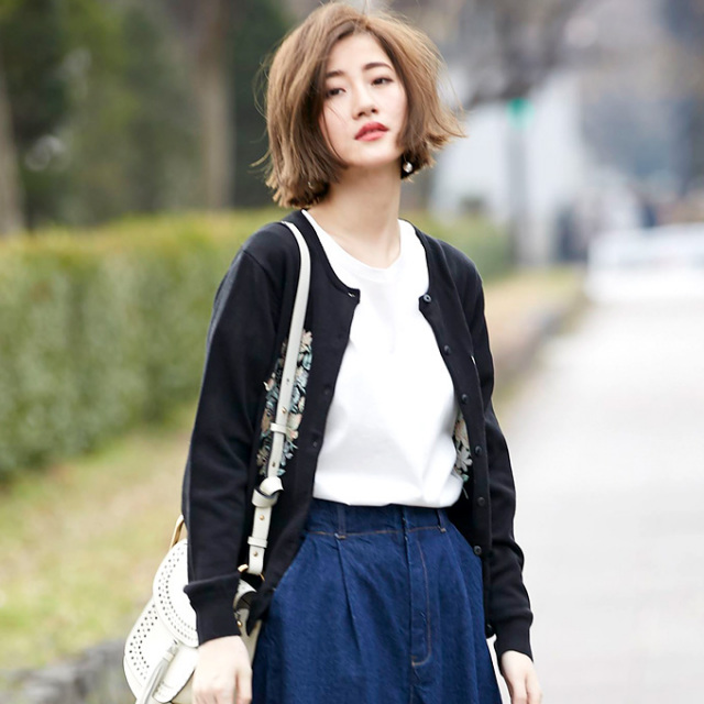 【Flower embroidery cardigan】レディース 花刺繍 カーディガン