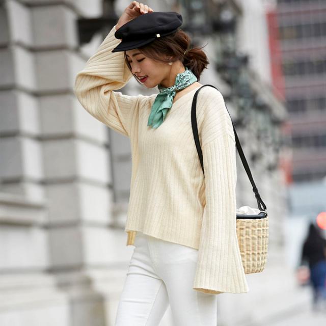 【Bell sleeve rib knit】レディース ベルスリーブ ニット