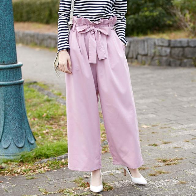 【Ribbon wide pants】レディース  リボン ワイド パンツ