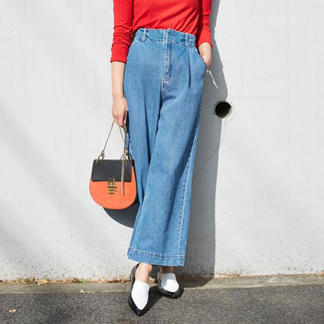 【High waist denim wide pants】レディース デニム ワイド パンツ