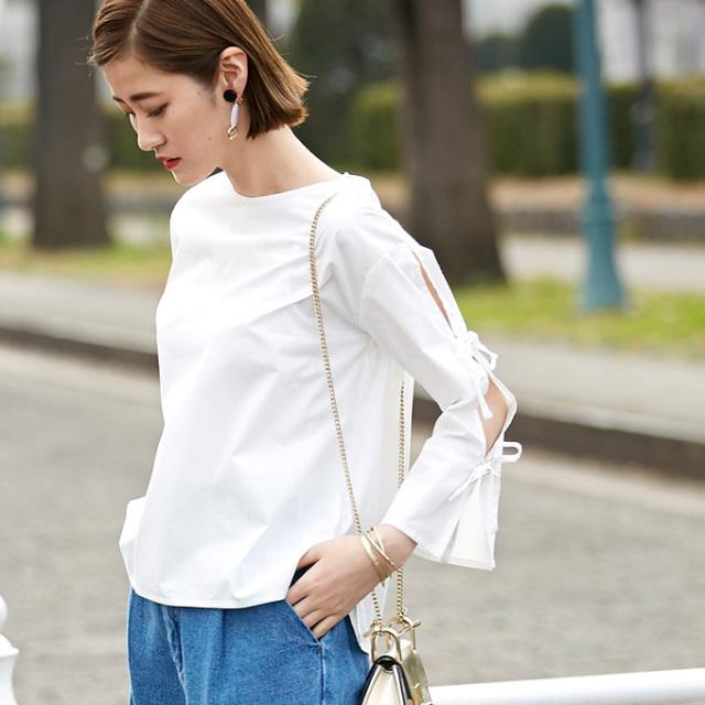 【Ribbon sleeve blouse】レディース リボン袖 ブラウス