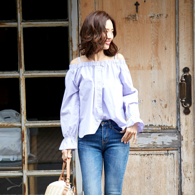 3月3日午前0:00再販【Front button off shoulder blouse】レディース オフショル 2WAY ブラウス