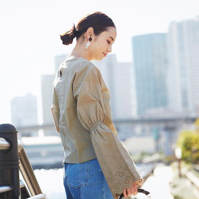 【Cotton lace flare sleeve blouse】レディース  レース フレア袖 ブラウス
