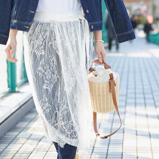 【Lace rap skirt】レディース  レース ラップ スカート