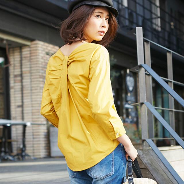 【Back drape blouse】レディース  ドレープ ブラウス