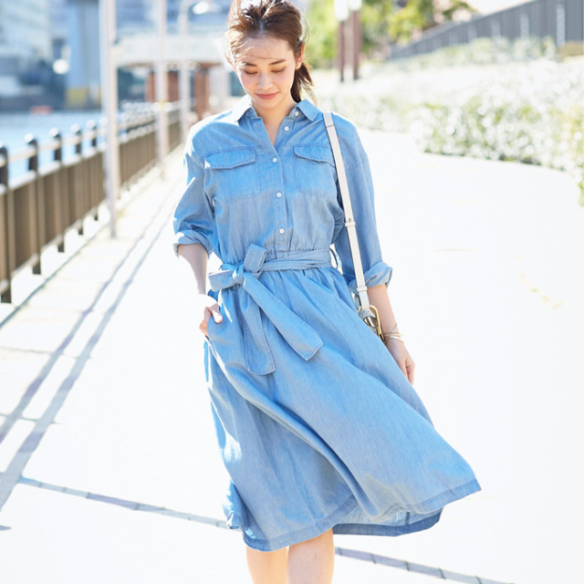 【Denim shirt one piece】レディース デニム ワンピース
