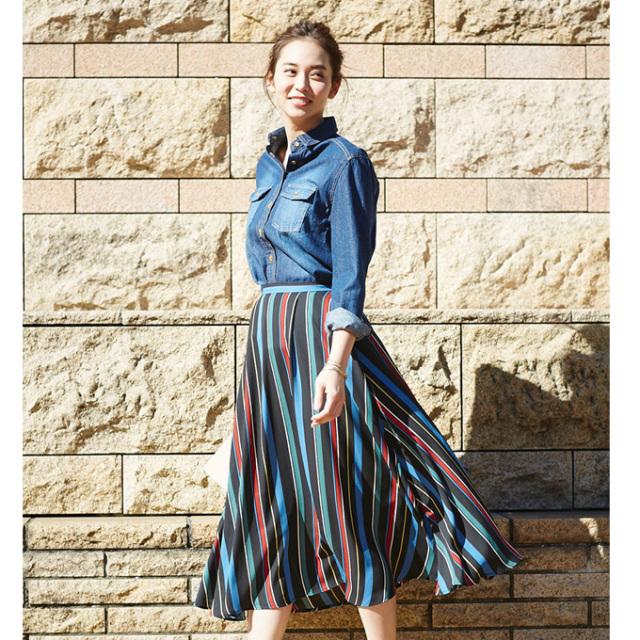【Muliti stripe flare skirt】レディース  ストライプ スカート