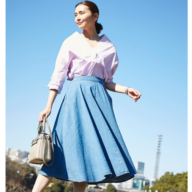 【Tuck flare skirt】レディース  フレア スカート