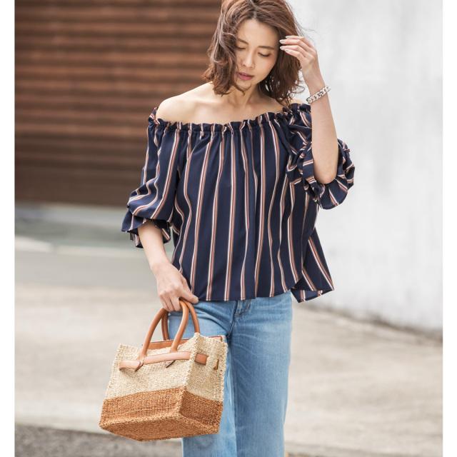 【Stripe 2way off shoulder blouse】レディース  オフショル ブラウス