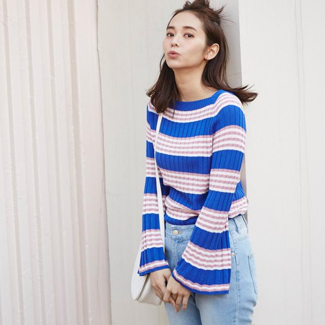 【Multi border knit】レディース  マルチボーダー ニット