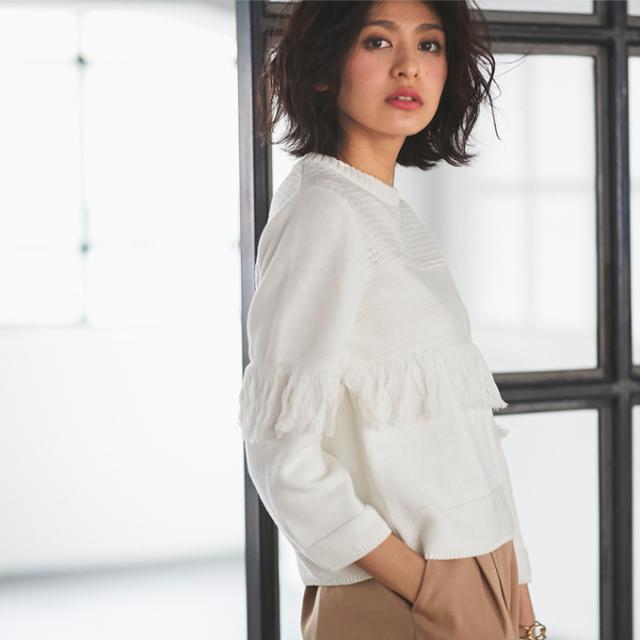 【Fringe cotton knit】レディース フリンジ 綿 ニット