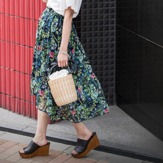 【Flower fish tale skirt】レディース  花柄 フィッシュテール スカート