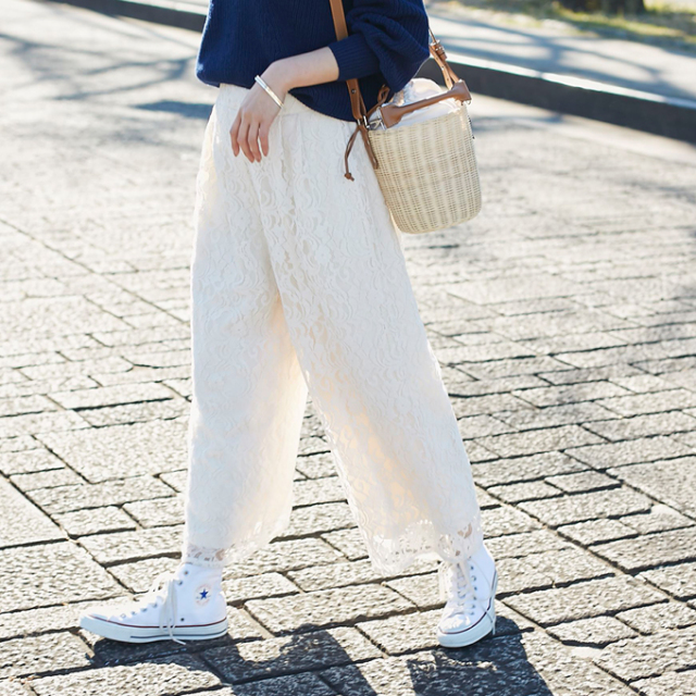 【Lace wide pants】レディース  レース ワイド パンツ