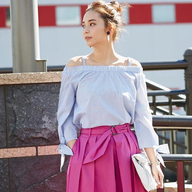 【Stripe off-shoulder ribbon blouse】レディース  オフショル リボン袖 トップス
