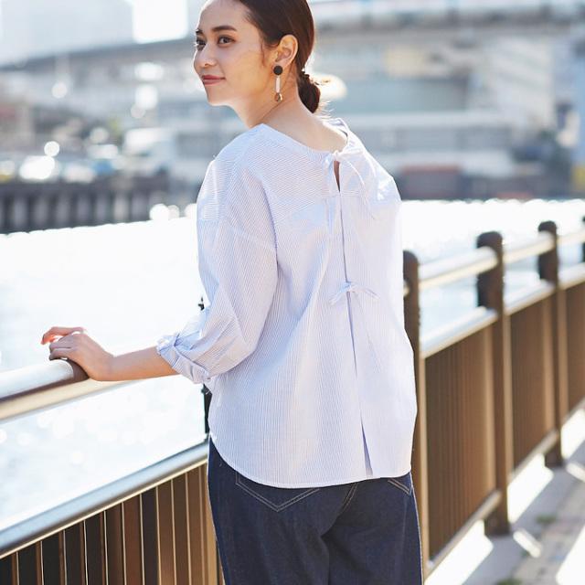 【Back ribbon blouse】レディース  バックリボン ブラウス