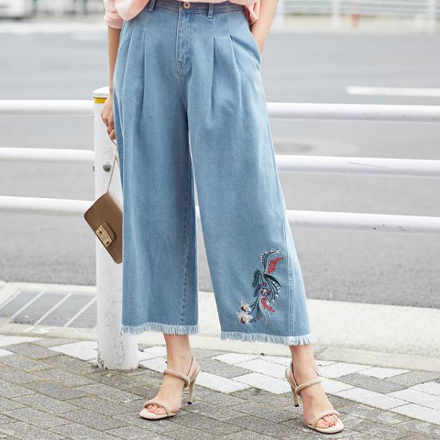 【Embroidery denim pants】レディース  刺繍 フリンジ デニム