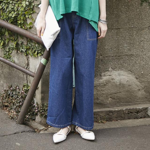 【Denim wide pants】レディース  デニム ワイド パンツ