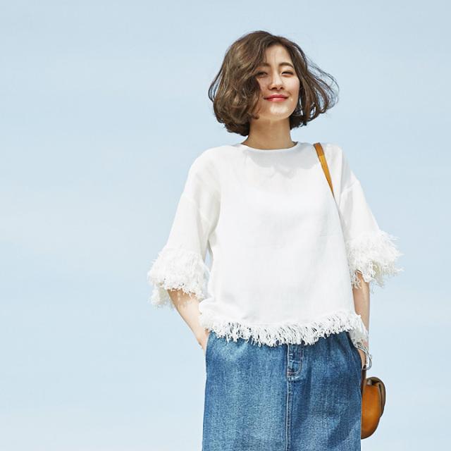 【Fringe blouse】レディース  フリンジ ブラウス