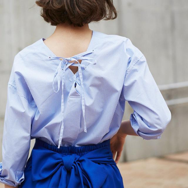 【Back ribbon blouse】レディース  バック リボン ブラウス