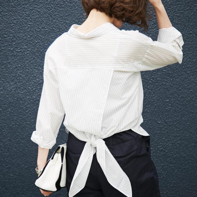 【Hem ribbon blouse】レディース  リボン ブラウス