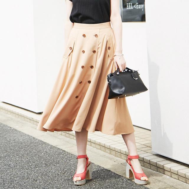 【Double button skirt】レディース  ダブル ボタン スカート