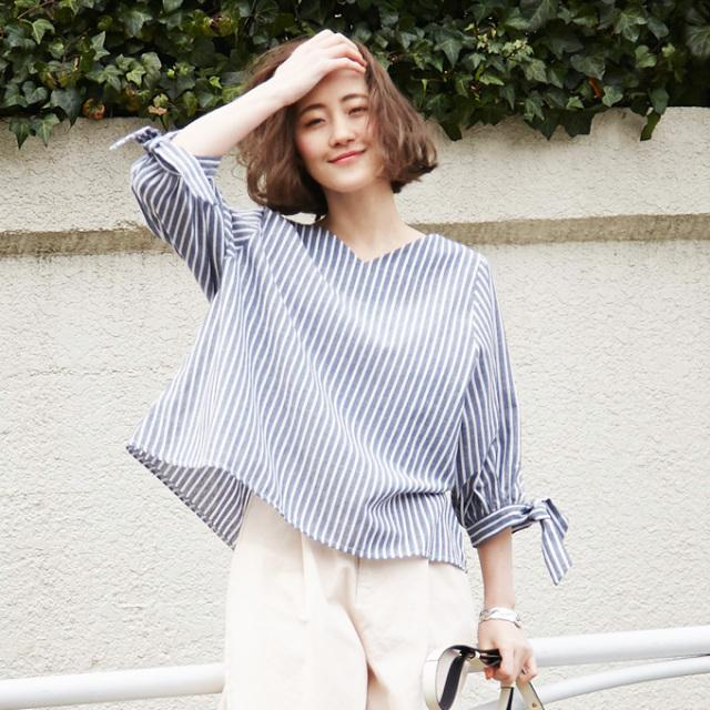 【Stripe ribbon dolman blouse】レディース  リボン ドルマン ブラウス