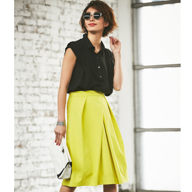 【Design tuck color skirt】レディース  タック スカート