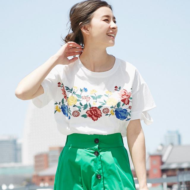 【Embroidery design T】レディース  刺繍 Tシャツ