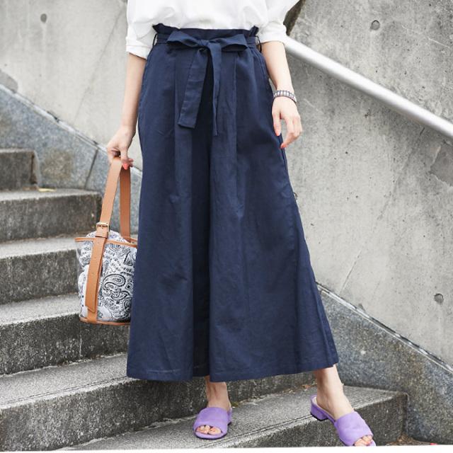 【Linen wide pants】レディース  リネン ワイド パンツ