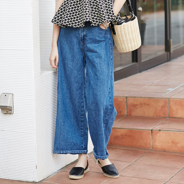 【Side line denim wide pants】レディース  デニム ワイド パンツ