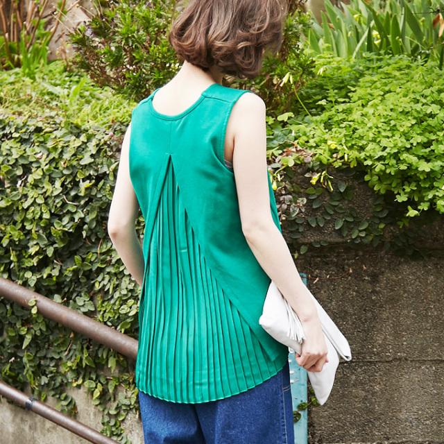 【Back pleats no sleeve tops】レディース  バック プリーツ トップス