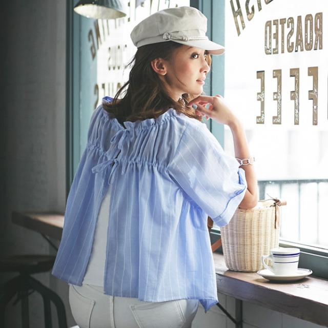 【Back ribbon stripe blouse】レディース  バックリボン 切替 ブラウス