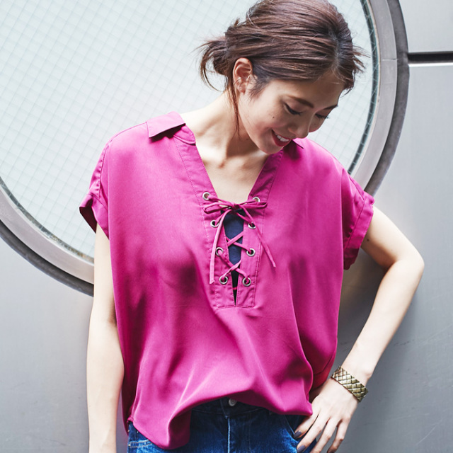 【Lace up blouse】レースアップ ブラウス